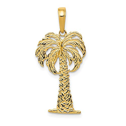 14k Yellow Gold Textured Palm Tree Pendant, 14 x 26mm ()