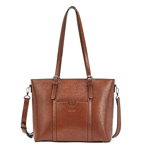 BROMEN Women Leather Briefcase 15.6 inch Laptop Handbag Vintage Shoulder Tote Bag Work Purses Brown
