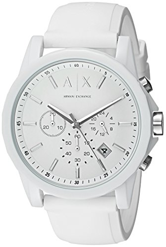 Mens Designer Watch (Armani Exchange Men's AX1325 White Silicone Watch)