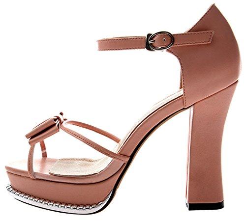 Summer Bowknot Peep-toe Metal Buckle Platform Thin High Heel Shoes For Women(7.5 B(W) US, pink)