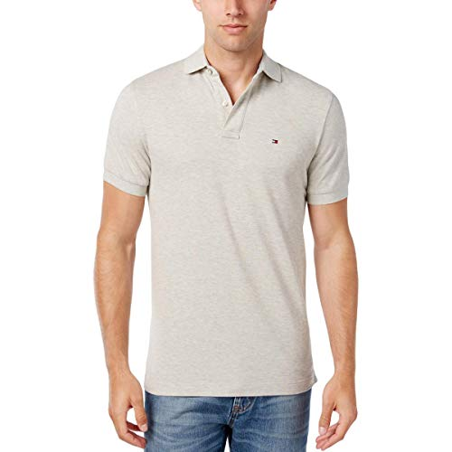 Flag Cotton Rugby Shirt - Tommy Hilfiger Mens Casual Short Sleeves Polo Shirt Gray S