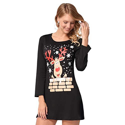 Costume Longues S Imprimer Cadeau Femme De l Black Amie l Robe Automne Manches No Hiver Black Neige De La l De No Petite Bonhomme No Elk Robe pour Femme pUTwIUvq