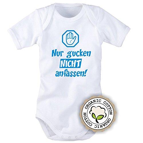 Babybody mit Aufdruck: NUR GUCKEN, NICHT ANFASSEN! (Blau oder Pink) (74/80, Blau)