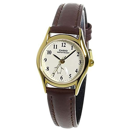- Casio Ladies LTP-1094Q-7B6 Penguin Dial with Genuine Leather Band Watch