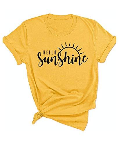 (Hello Sunshine Shirt Womens Summer Casual Short Sleeve Graphic Tees T Shirts Vacation Tshirt Yellow)