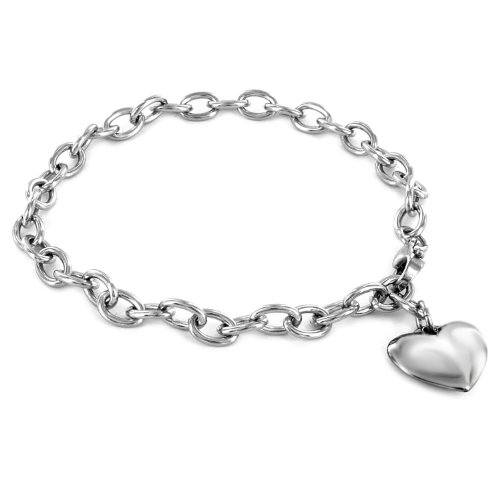 Bracelet Silver Sterling Toggle Beaded - Women's Stainless Steel Polished Heart Charm Bracelet - 7.5
