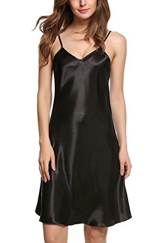 - Avidlove Women\'s Nightshirts Satin Chemises Slip Sleepwear,Black (FBA),X-Large