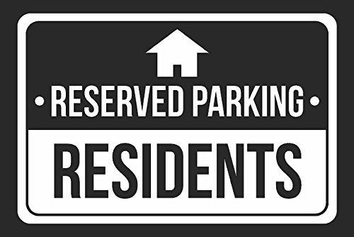 Estacionamiento reservado residentes impresión blanco y ...