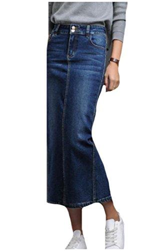 SexyBaby Women's Fashion Split Accept Waist Washed Denim Maxi Skirt Blue L (Skirt Split Denim)