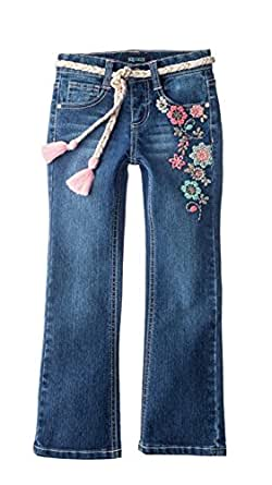 Squeeze Toddler Embroidered Flower Bootcut Jeans, Dark Elise (2T)