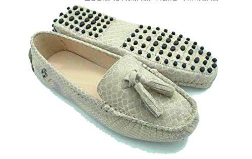 LL STUDIO Womens Casual Slip On Tassel Khaki Snakeskin Seude/Leather Driving Moccasins Loafers Boat Shoes 6 M US -  LL STUDIO-YIBU9605-Khaki Snakeskin36