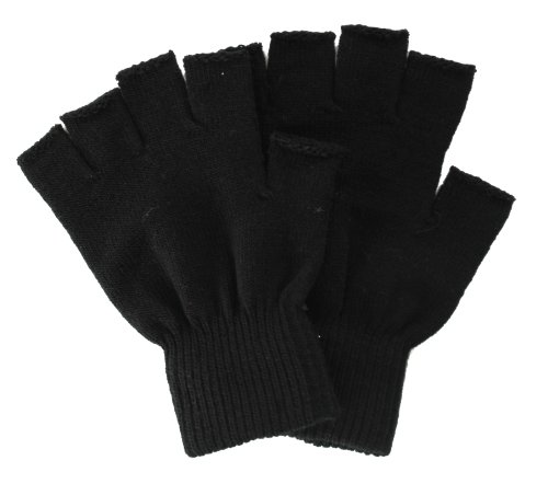 Simplicity Winter Fingerless Gloves without Flap Cover Mitten Gloves, 4711_Black