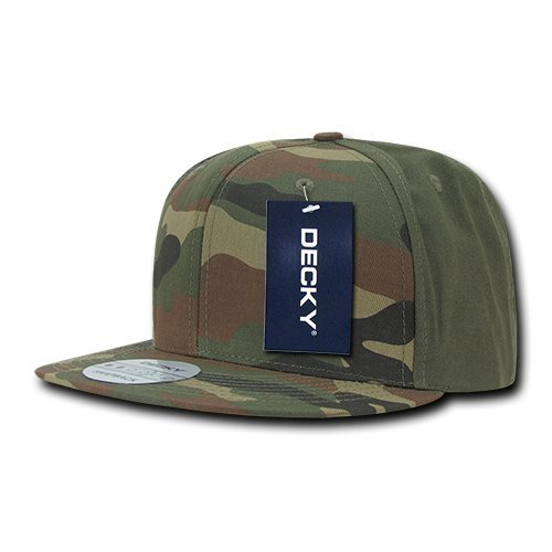DECKY Cotton Flat Bill Snapbacks, Woodland/Woodland/Olive by DECKY