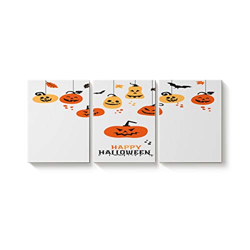 Arts Language 3 Pcs Canvas Wall Art Office Hotel Bedroom Living Room Home Decor,Trick or Threat Cute Pumpkin Bat Happy Halloween Canvas Art Oil Paintings,Pictures Modern Artworks,12 x 16in x 3 Panels