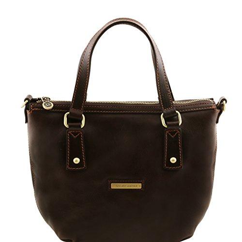 81414834 - TUSCANY LEATHER: OLGA - Sac shopping en cuir, Marron foncé