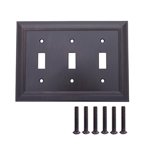 Duplex Outlet Triple Toggle Switchplate - AmazonBasics Triple Toggle Light Switch Wall Plate, Oil Rubbed Bronze, 1-Pack