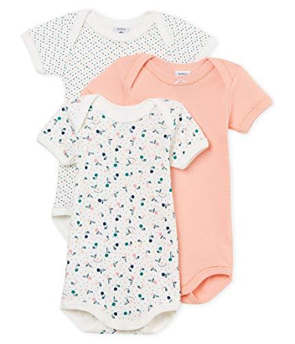 Petit Bateau Baby Girl's Short-Sleeved Bodysuit - Set of 3 Sizes 3-36 Months Style 46658 (Size 36/M Style 46658)