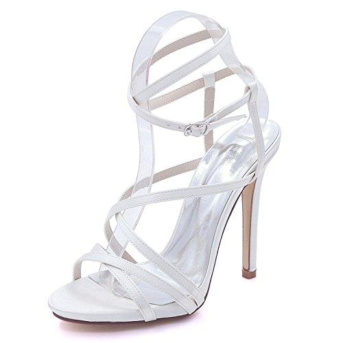 L@YC Plataforma Abierta de La Boda de Las Mujeres del Alto Talón 7216-02 Sandalias Vestido de Fiesta Zapatos de La Corte Tamaños 3-8 White