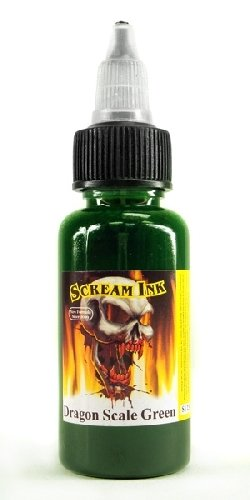 Scream Tattoo Ink -DRAGON SCALE GREEN- 1/2-oz Bottles -Tattoo Supplies-