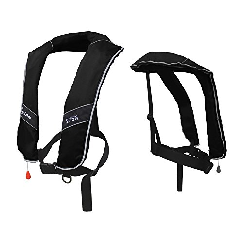 (Premium Quality Automatic/Manual Inflatable Life Jacket Life Vest Inflate Survival Aid PFD 275N Buoyancy XXXL Size for Adult New - Black Color)