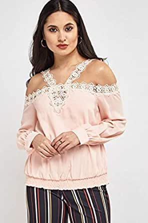 Crochet Contrast Cold Shoulder Top