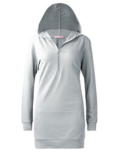Regna X Women's Long Sleeve 1/4 Zip French Terry Active Dress Light Grey Medium
