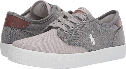(Polo Ralph Lauren Kids Boy's Luwes (Big Kid) Grey Chambray/Canvas/White Pony 4 M US Big Kid)