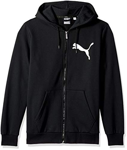 PUMA Men's Big Logo Full Zip Hoody, Cotton Black, S