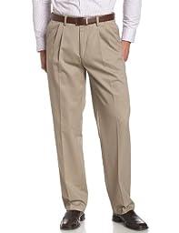 Savane Men\'s Pleated Wrinkle Free Twill Pant, Khaki, 42W 32L
