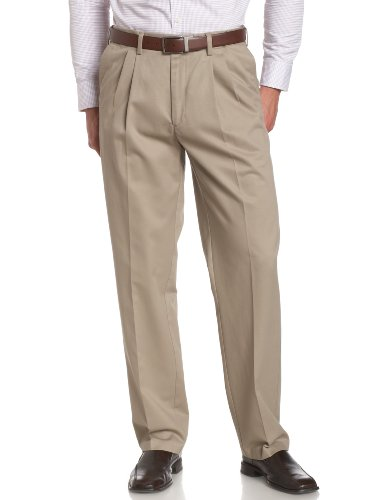 Savane Men's Pleated Wrinkle Free Twill,Khaki,36W 30L (Trouser Twill Cotton)