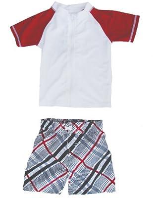 SwimZip Little Boy Zipper Short Sleeve Rash Guard 2 Piece Swimsuit Set Red Surfer Dude