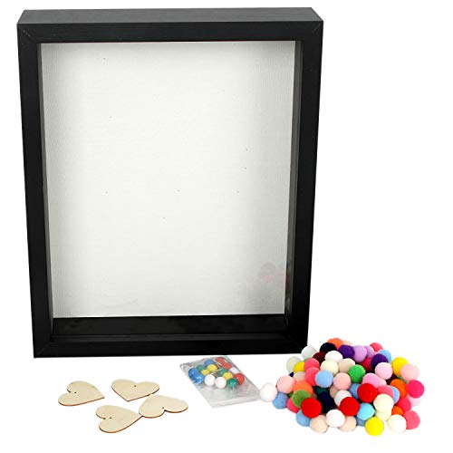 DiamondDec Premium Elegant Black 3-D Wooden Deep Shadow Box Frame - Shadow Box Memorabilia Frame & Soft Linen Back - Perfect for Displaying Photos, Tickets, Sports Items, More - 8 x 10 Shadow Box