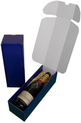 10 azul de cartón cajas de regalo de presentación para botella de vino de color negro de papel de seda: Amazon.es: Hogar