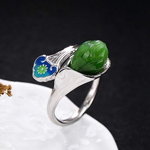 Weiwei Men Ring Rings S925 Sterling Silver Inlaid Natural Jasper Female Thai Blue Lotus Ring ()