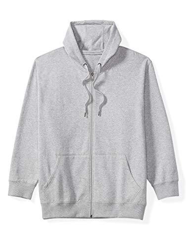 Amazon Essentials Men's Big and Tall Full-Zip Hooded Fleece Sweatshirt fit by DXL, Light Gray Heather, - Fleece Sweatshirt Hooded Mens