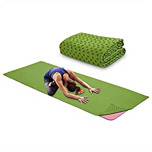 Yoga Mat Towel Microfiber No-Slip Yoga Mat Cover Towels Sweat Absorbent and Soft Lightweight 72 inch x 25 inch Green, Blue, Purple (Green)