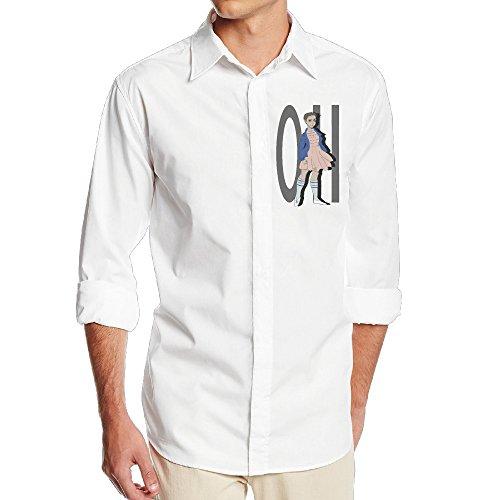 Boss-Seller Men's Stranger Things Long Sleeve Dress Shirt Size L White