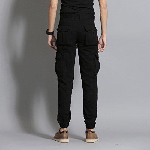 Heheja Hombre Color Sólido Ocio Pantalones Múltiples Bolsillos Pantalones Cargo Militares Pantalón Negro