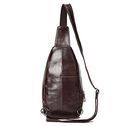 Backpack Bag Sling Business Genuine Lightweight Shoulder Bags Brown Travel Men Jxth Daypack Chest Casual on Carry Small Messenger Pack Crossbody Leather HOXnq
