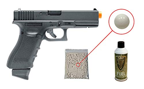 Glock Gen4 G17 Gas Blowback Airsoft Pistol with Included Elite Force Airsoft Green Gas Can and Wearable4U Pack of 1000 6mm 0.20g BBS - G17 Pistol Blowback Gas
