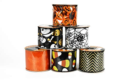 Set of 6 Halloween Wired Ribbon Rolls! 3 Yards of Ribbon Per Roll! Spooky Halloween Decorations Perfect for Classrooms, Schools, Parties and More! (Set -