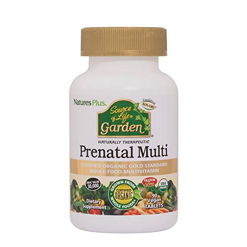 Natures Plus Source of Life Garden Organic Prenatal Multivitamin - 880 mcg Folic Acid, 90 Vegan Tablets - All Natural Whole Food Prenatal - Non GMO, Vegetarian, Gluten Free - 30 Servings