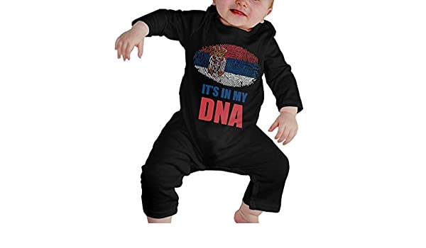 Serbia Its in My DNA Printed Boys Girls Jumpsuit Long Sleeve Rompers Black