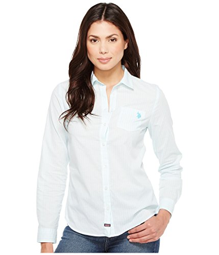 U.S. Polo Assn. Women's Long Sleeve Striped Poplin Woven Shirt, Aqua Shore, XL