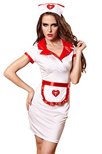 YiYiFS EU810-Sexy White Nurse Uniform Costume Cosplay Lingerie mini Dress + Stocking (Disney Belle Costumes Custom)