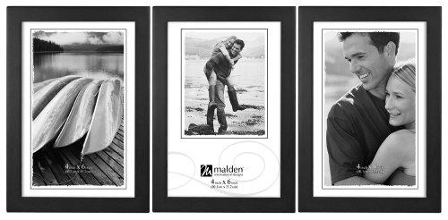 Malden International Designs Classic Concepts Vertical Black Wood Picture Frame, 3 Option, 3-4x6, Black