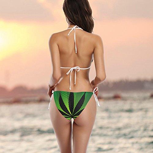 Femme Maillot Marijuana Feuilles Cannabis Bain Alaza De Pièces Bikini Multicolore Deux OPqf6U6