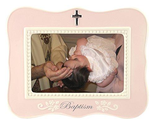 (Malden International Designs Glazed Ceramic With Jewel Pink Baptism Milestone Picture Frame, 4x6, Pink)