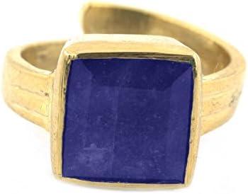 Skyjewels Adult 4.25 Ratti Neelam Rashi Adjustable Ring In Panchdhatu For Astrology Purpose Free Size Blue
