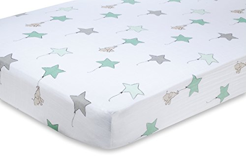 aden + anais classic crib sheet, up, up & away - elephant